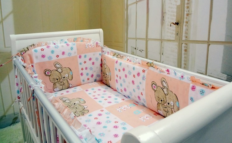 Promotion! 6PCS Pink Bear Baby bedding sets Bed set in the cot Bed linen for children bumpers (bumpers+sheet+pillow cover) promotion 6pcs baby bedding set cot crib bedding set baby bed baby cot sets include 4bumpers sheet pillow