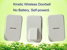 Без батареи беспроводной дверной звонок 1 кнопка + 2 дверной звонок. 120 м диапазон главная дверной звонок с ЕС США ВЕЛИКОБРИТАНИЯ АС plug водонепроницаемые двери белл