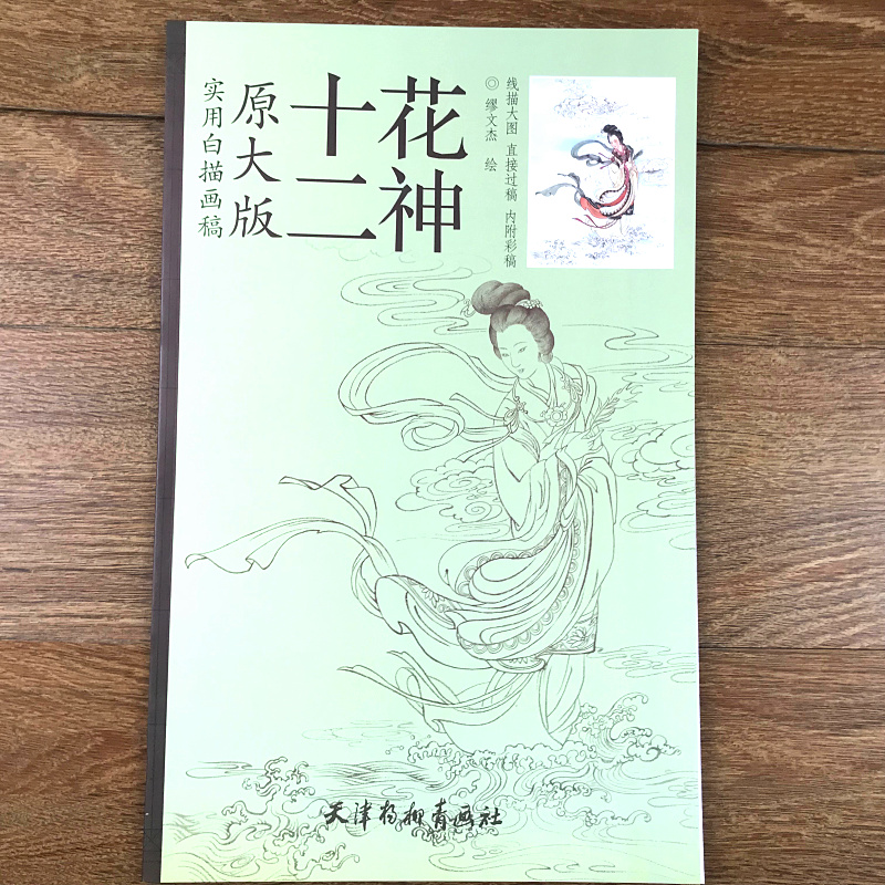 Practical White Sketch Manuscript Painting Line Drawing Bai Miao Gong Bi Book For 12 Flora Gold