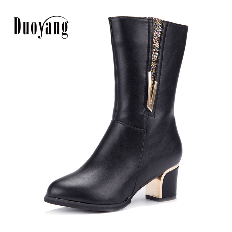 Women PU boots winter warm noble ladies boots 2018 fashion square heels solid color pumps boots