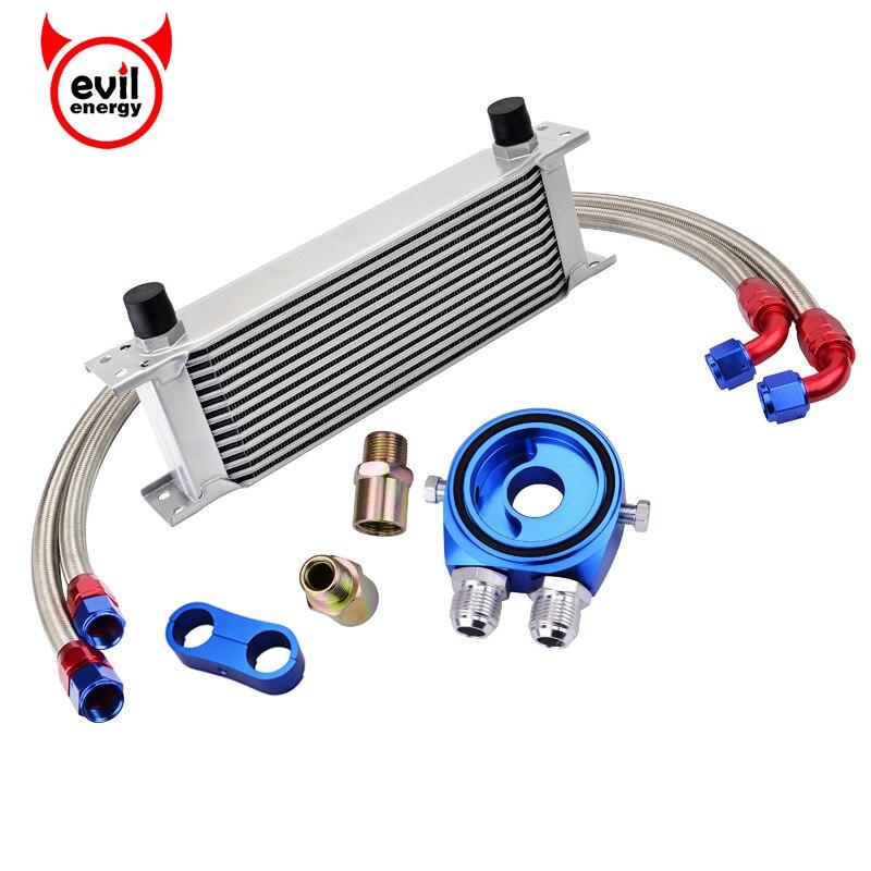 evil energy 13Row AN10 Engine Transmission Oil Cooler Kit Gauge Sensor Plate Oil Hose Fuel Line