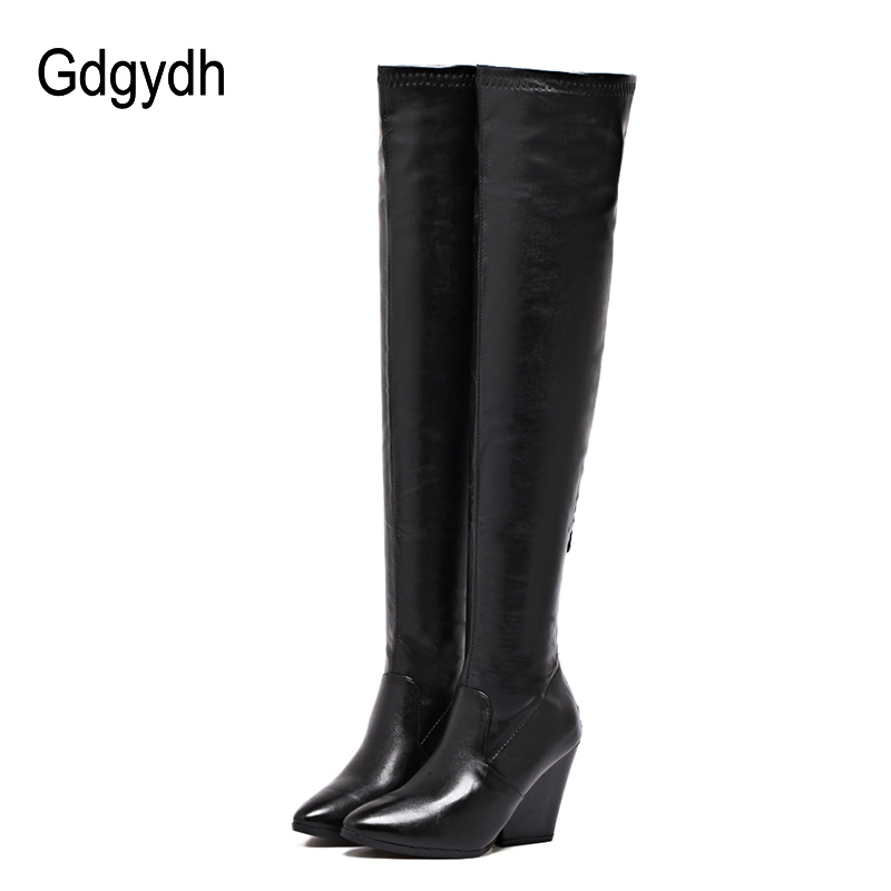 Gdgydh Ladies Over The Knee Boots Women High Heels Winter Shoes Fashion Thigh High Boots Ladies Party Shoes Autumn Leather Shoes fashion snake printed thigh high boots med heels slip on over the knee boots autumn winter party banquet prom shoes woman