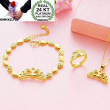 OMHXZJ Wholesale European Fashion Woman Girl Party Wedding Gift Crown 24KT Yellow Gold Ring+Bracelet+Necklace Jewelry Set JE19 st kunkka 24k yellow gold filled leaf original ring for woman wedding party charm ring 2018 new fashion jewelry accessories gift