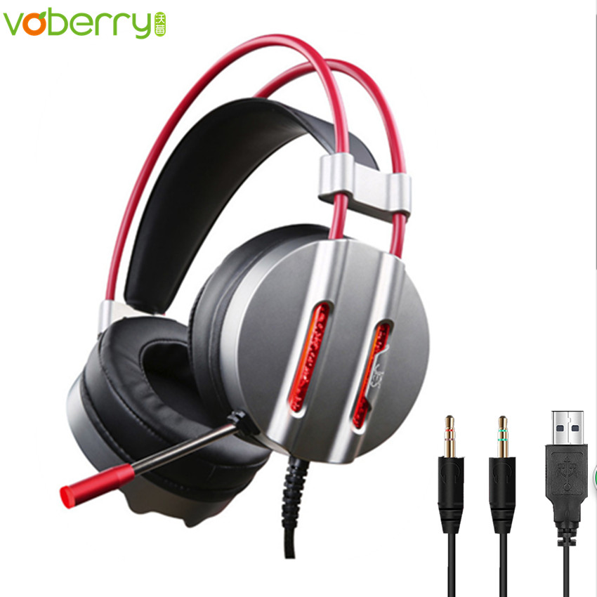 V3 Fone De Ouvido 2.2m Cable LED Light Headphone Mic Surround Sound Noise Reduction Earphhone 3.5MM PC Gaming Headset with USB pk se215 original kz zs1 gaming headset hifi dj headphone with mic bass music 3 5 mm wired fone de ouvido ecouteurs for iphone