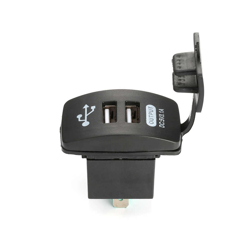 12-24V Dual USB Car Charger 5V 3.1A Universal Auto Mobile Phone Charger Replacement for Auto Motorcycle Electric Car Boat