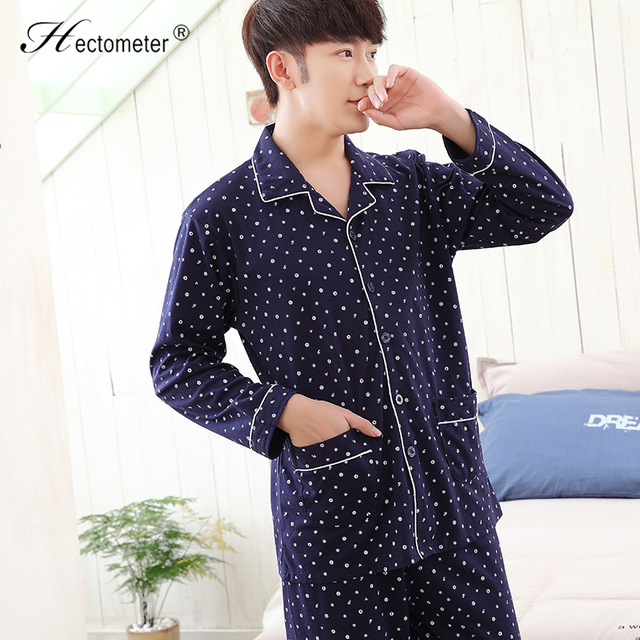 2017-tMen 's pajamas long sleeve lapel cardigan letters printed cotton men' s middle - aged home suits R209