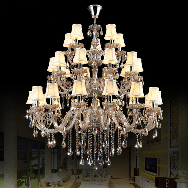 Chrome Chandelier With Shades Modern Led Lights Indoor Lighting Large Chandeliers For Hotels Interior Lamps