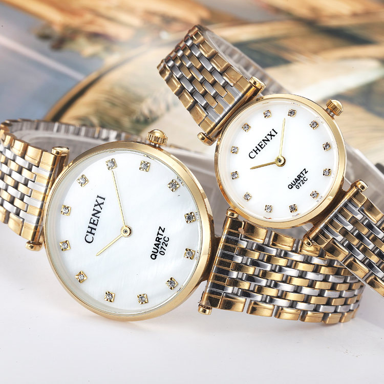 2018 Chenxi Brand Fashion Casual Couples Watches Business Style Man Woman Gold Stainless Steel Waterproof Quartz Charms Dress