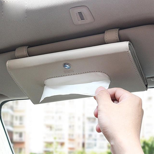1pcs Top Quality Car Sun Visor Hanging Leather Tissue Boxes For BMW X1 X3  X4 X5 X6 M3 M4 M5 M6 320d 328d 335d 520d 535d 740 760 16be60e20df