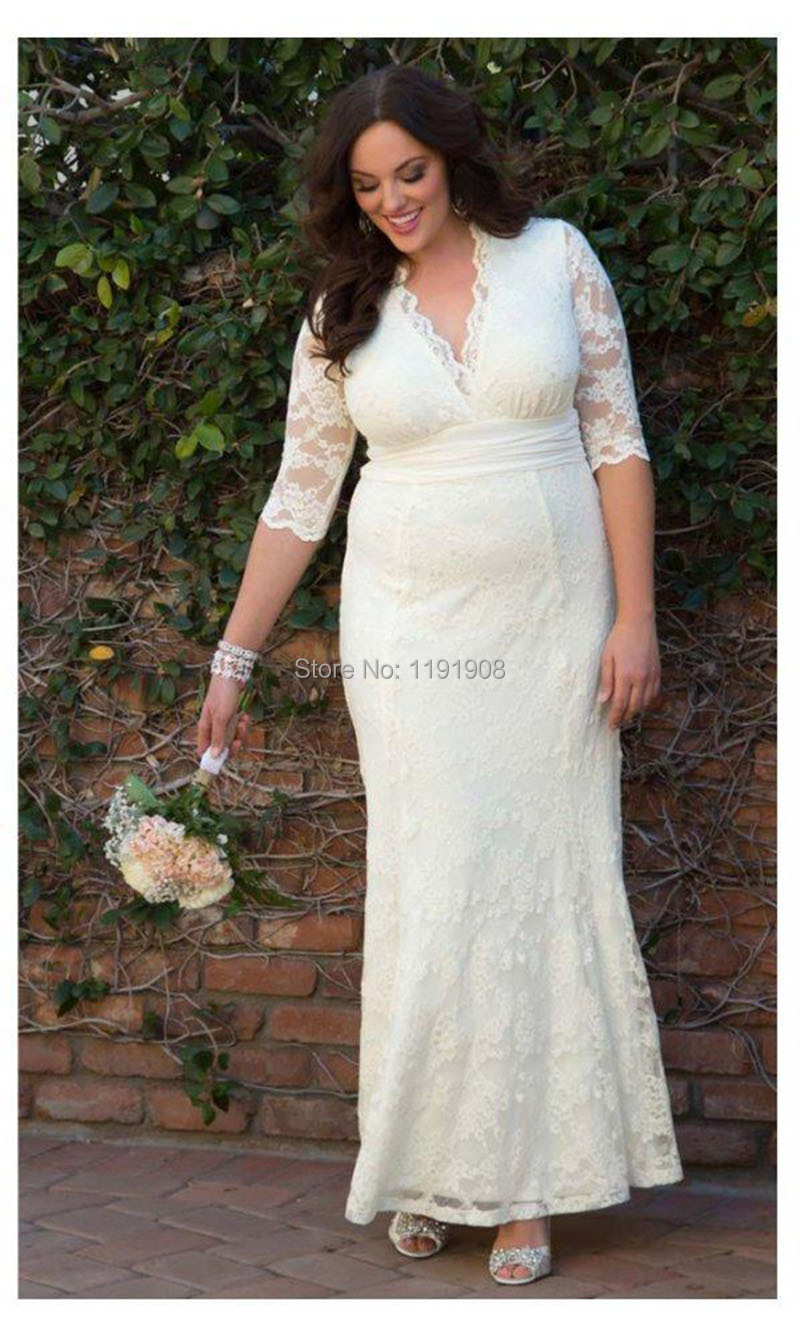 2016 Summer Style Plus Size Women Fitted Long Wedding Dress With