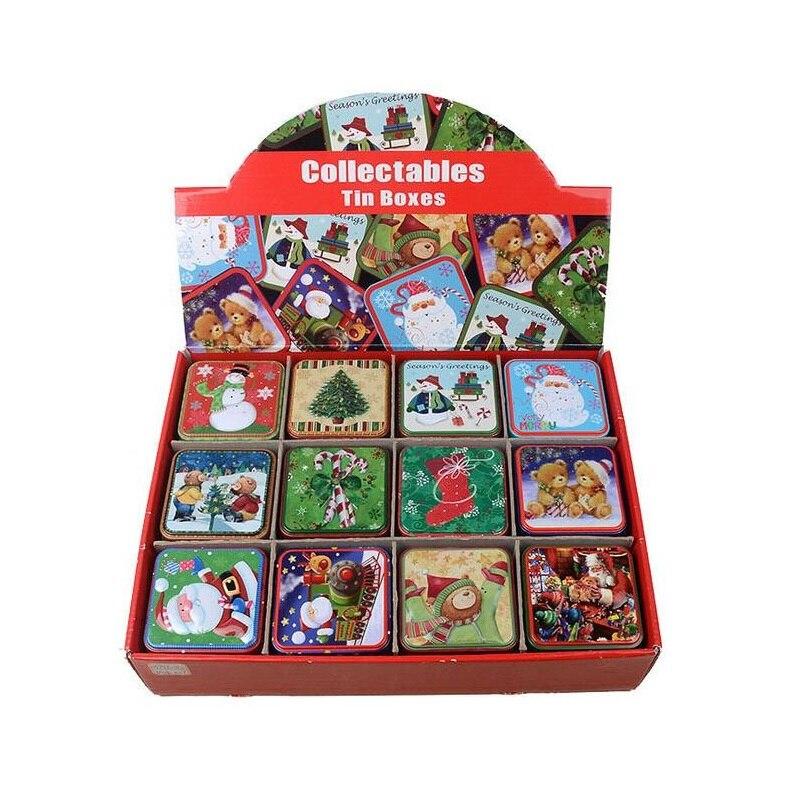 12 teile/satz Mode Weihnachtsmann Dose Weihnachten Weißblech Süßigkeiten Boxen Teedose Cookie Diversesspeicher Fall ZA5073