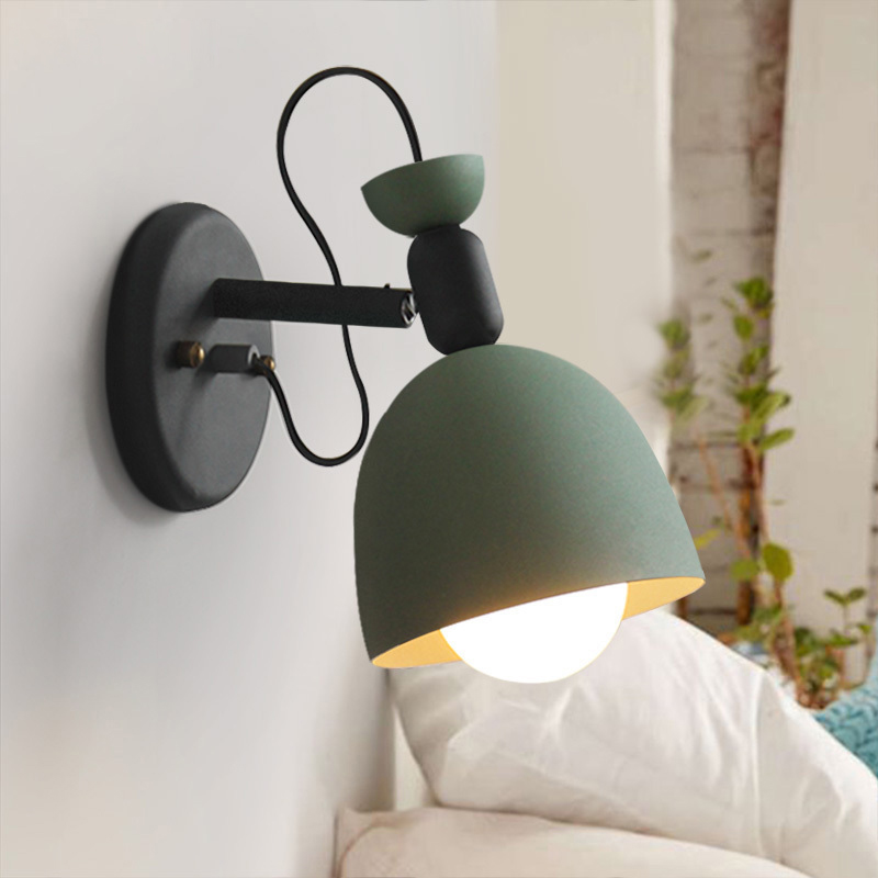 iYoee Nordic modern creative Macaron colorful LED wall lamp iron wall light for living room restaurant cafe home lighting