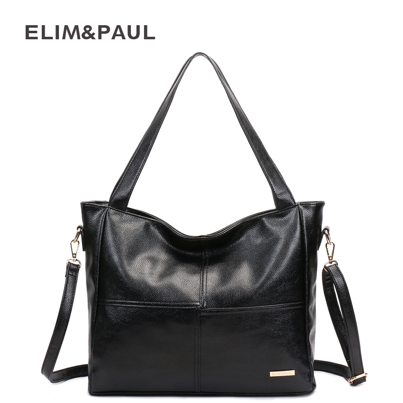 ELIM&PAUL Women Shoulder Bags Large Capacity PU Women Leather Bag Female Women Bag Handbags Zipper Sac a Main Bolsas Femininas dumas a le capitaine paul