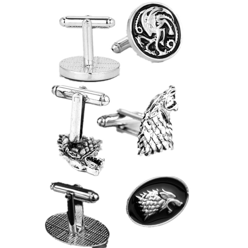 RJ Fashion Movie Game of Thrones Stark Wolf Head Alloy Cufflinks A Song Of Fire And Ice Dragon Cufflinks For Men Lady Jewelry