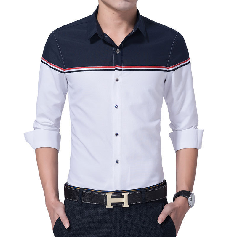 2016 New Autumn Fashion Brand Men Clothes Slim Fit Men Long Sleeve Shirt Men Patchwork Casual