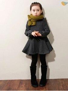 Осенне-зимнее плотное бархатное платье для девочек из чистого хлопка, модные детские платья с краями листьев лотоса, детская одежда, 2019