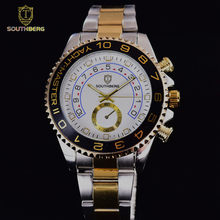 3acd53e992b Relógio de ouro Dos Homens de aço Inoxidável Vidro de Safira GMT Bezel  Rotativo Banda Esporte Quartz relógio de Pulso reloj relo.