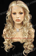 Long Blonde Highlighted Synthetic Lace Front Wig Kim Kardashian Wig For Man and Woman