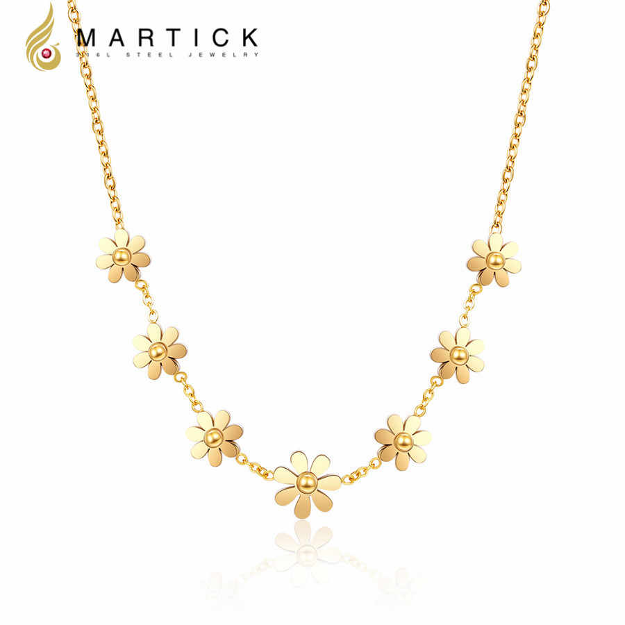 Martick 316L Stainless Steel Gold-color Flower Pendant Necklace Link Chain Necklace Rose Gold Fashion Jewelry P60