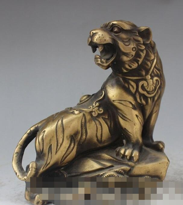 S00565 Chinese Fengshui Bronze Ferocious Animal Up Hill Tiger Zodiac Tiger Beast Statue (A0321)