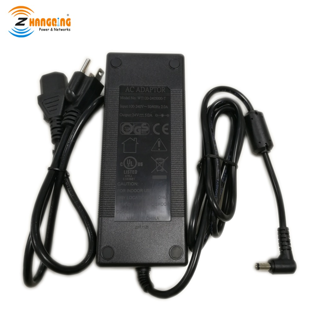 PoE Power Adapter 24V 120W Power Supply for Gigabit 10 100 1000 Mbps PoE injector PoE