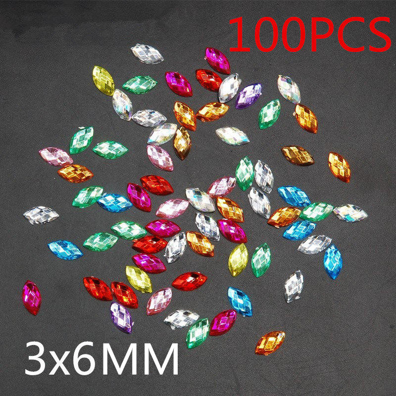 Hot Sale Top Quality 100 pcs / pack 3x6 mm 27 Color Horse Eye Flatback Acrylic Mountain Crystal Jewelry Making DIY Nail supplies top 2017 hot sale 100