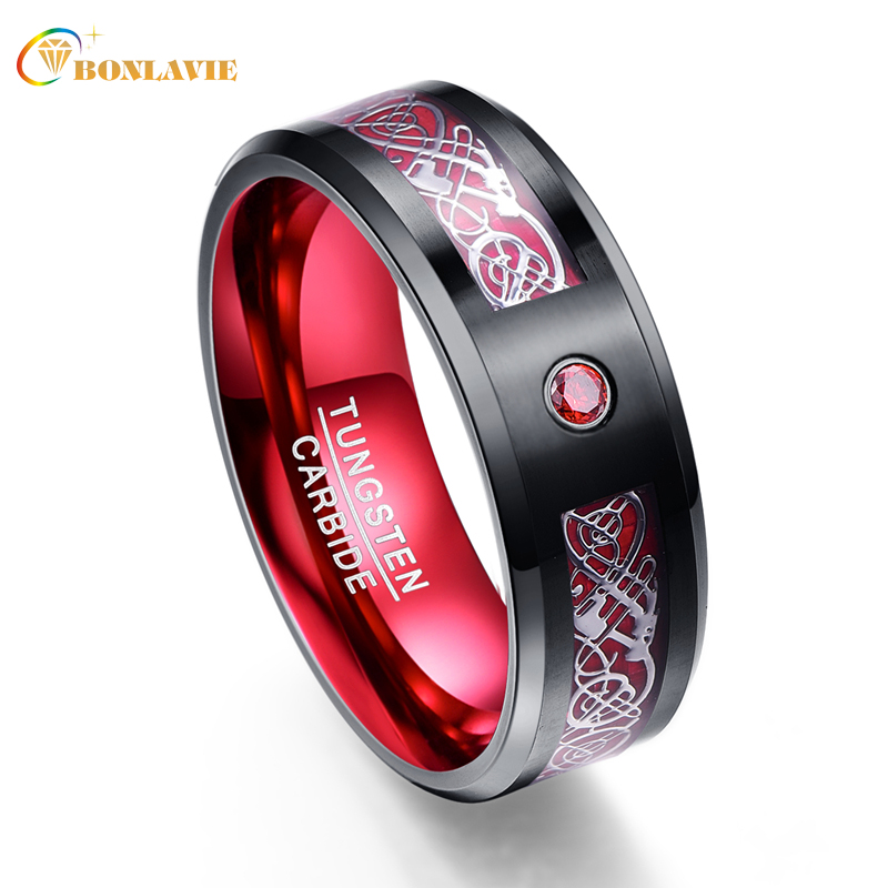 Silver Dragon Pattern Red Zircon Men Rings 100% Tungsten Carbide Wedding Bands Anillos para hombres Ring Jewelry