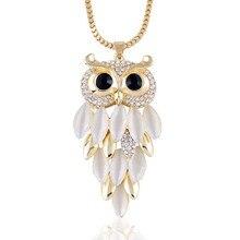 Классический Сова Ожерелье Для Женщин Мода Горный Хрусталь Опал Модные Ювелирные Изделия Заявление Позолоченные Длинная Цепь Ожерелья и Кулоны