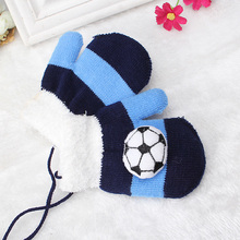 Miya Mona 1Pair Boys Winter Warm Gloves Toddles Double Layer Thick Knitting Football Patterns Soft Full Fingers Mittens