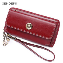 SENDEFN New Sale Women Clutch Leather Wallet Female Long Wallet Women Zipper Purse Strap Money Bag Purse For iPhone 7-8 5205-5(China)