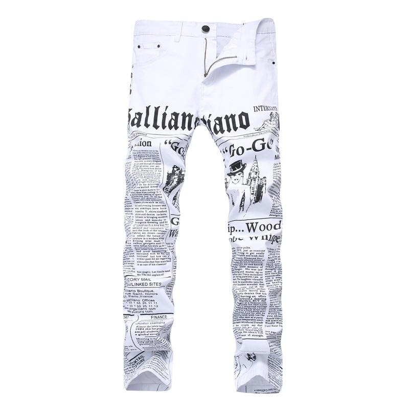 New Night Club Men Jeans Slim Fit Biker White Jeans Trousers Skinny Jeans Punk Letter Printing Women Denim Pants Plus Size nydj new optic white women s size 8 five pocket seamed slim skinny jeans $110
