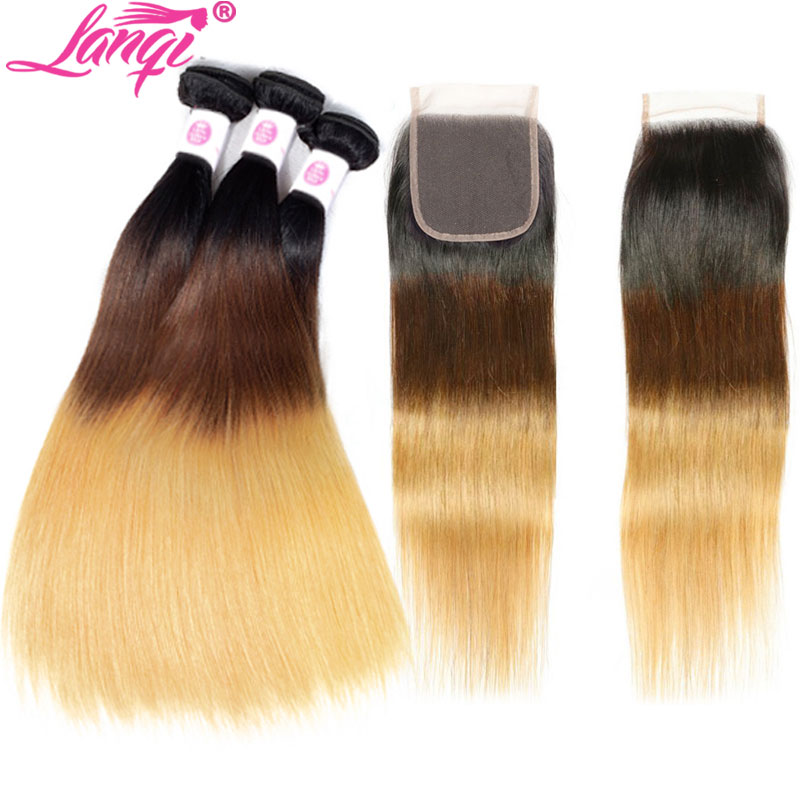 1b 4 27 ombre bundles with closure blonde bundles with closure non remy Brazilian Straight human