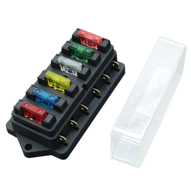 new 6 way fuse holder box car vehicle circuit blade fuse. Black Bedroom Furniture Sets. Home Design Ideas