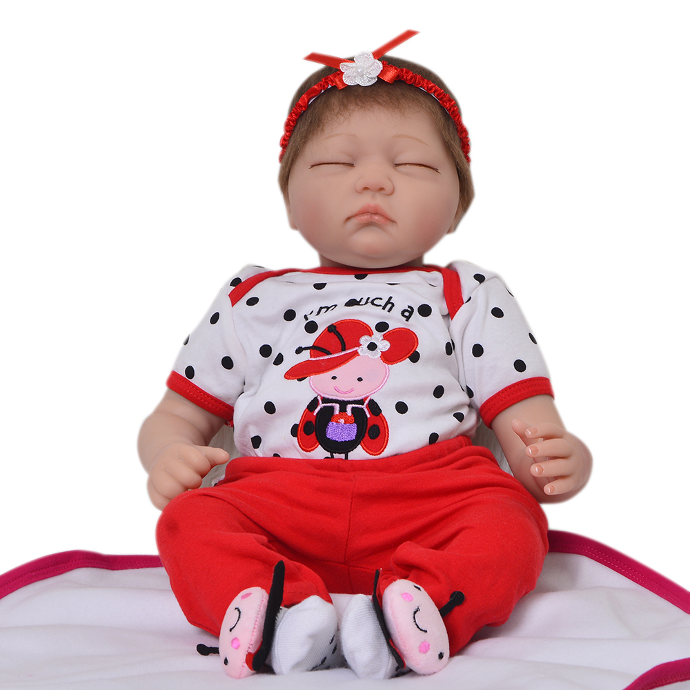 Lifelike 22'' 55 cm Fake Baby Reborn Dolls Soft Silicone Cloth Body Sleeping Girl Doll Children Play Toy Adorable Kids Xmas Gift adorable soft cloth body silicone reborn toddler princess girl baby alive doll toys with strap denim skirts pink headband dolls