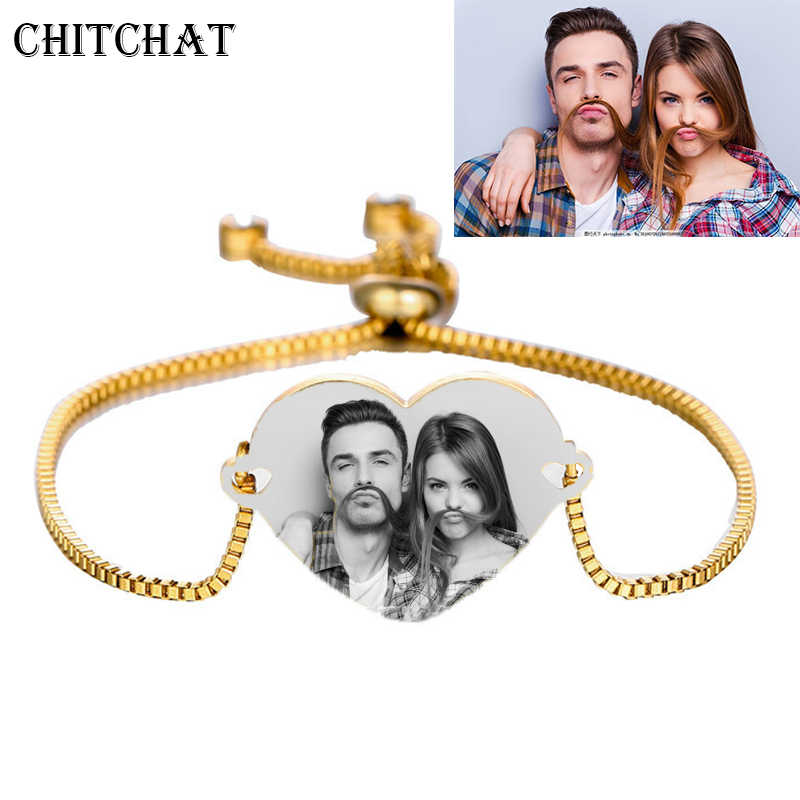 Engraved Photo Name Date Bracelet Customized Words Logo Bracelets Rose Gold/Gold Adjustable Bangles For Woman Birthday Gift
