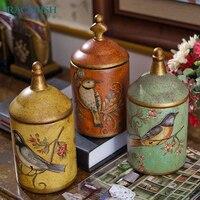 Maurice Style Pastoral Flower And Bird Printing Ceramic Storage Tank Luxry Retro Home Chin Decorative