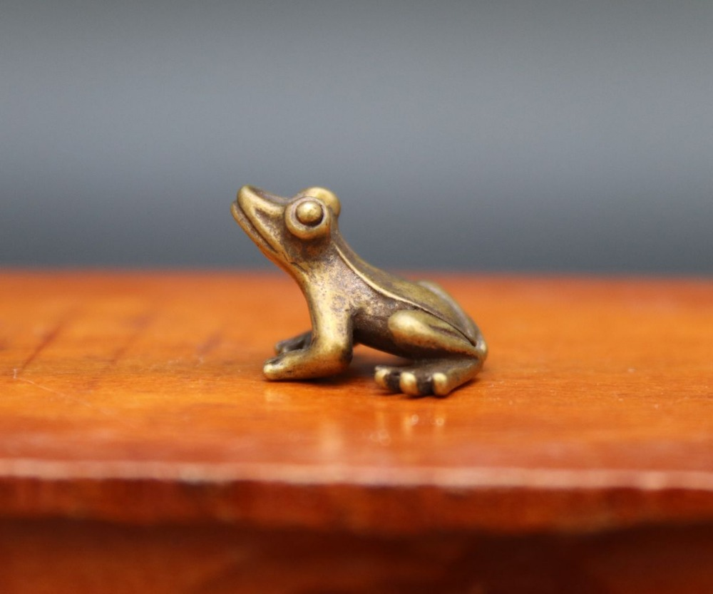 3 cm 100/% Pure Bronze Copper Chinaese Fengshui Animal Common Pond Frog Sculpture