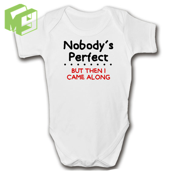 5ffc7898b Nobody's Perfect Funny Baby Grow short Sleeved jumpsuit One Piece  100%Cotton Onesie for 0-12M Newborn Girl/Boy white romper