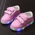 2017 resorte caliente led niños shoes moda infantil chicos chicas estrellas luminosas zapatillas otoño antideslizante toddler shoes tamaño 21-30