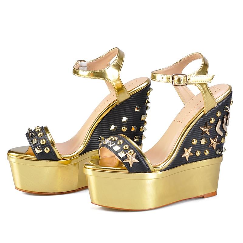2dc904820 Cunhas Para Novas Plataforma Femininos Salto Geométrica Metal gold Mulheres  Black Rosa Alto 2019 As Sapatos ...