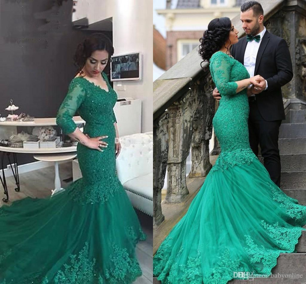 New Green Arabic Lace Mermaid Prom Dresses 2017 V neck Vestidos De ...