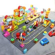 Duploe gran Base de ladrillos placa 19*19cm tráfico escena camino placa Base Juguetes de bloques de construcción para niños compatibles con los Duplos