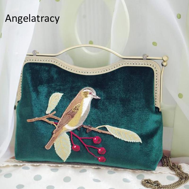 Angelatracy 2018 Handmade Vintage style Velvet Clutch Bag with Bird Flower Embroidery Bird Velvet Clutch Vintage