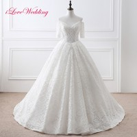 In Stock Elegant V Neck Half Sleeves Ball Gown Wedding Dress White Color Ready for Shipping Bridal Lace Wedding Gown