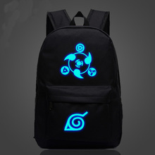 Anime Naruto logo school students schoolbag men and women shoulder zipper bag kids cartoon casual canvas backpack