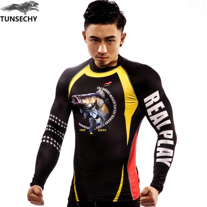 TUNSECHY 2017 Brand popular qiu dong the latest 3D men leisure tight long-sleeved round collar T-shirt speed dry clothing