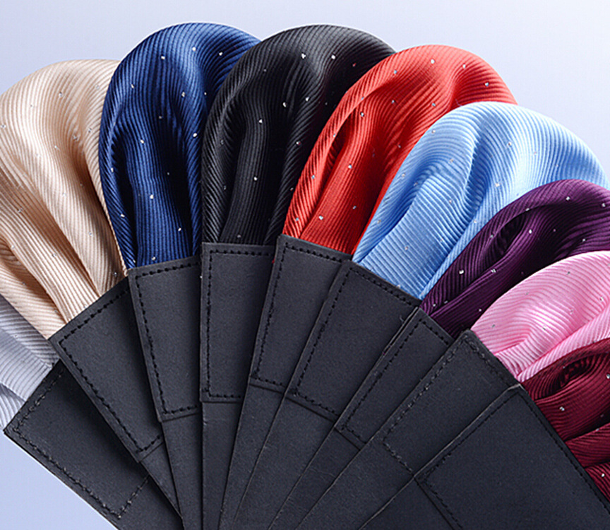 Men's Pre-folded Pocket Square Solid Polka Dots Handkerchiefs 17 Colors Gentleman Formal Wedding Party Business Chest Towel