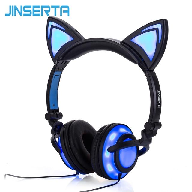JINSERTA 2020 고양이 귀 헤드폰 LED 귀 헤드폰 고양이 이어폰 번쩍이는 헤드셋 성인과 어린이를위한 게임 이어폰