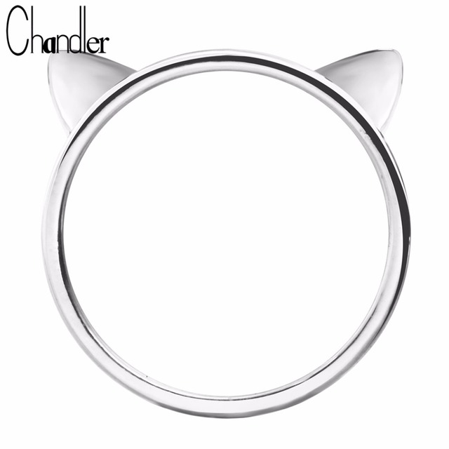 692897db0 Wholesale Silver Plated Cat Ear Rings Round Close Cute Kitty Kitten Head  Shape Ringen For Women Party Luxury Accessaries