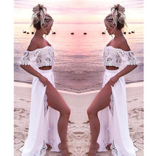 Women Crop Top And Skirt Beach Sets Clothes 2019 Womens Suits Set 2 Pieces White Lace Solid Two Piece Summer Tracksuit